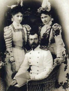 Nicholas II with his wife Alexandra and her sister, Princess Elizabeth of Hesse and by Rhine.