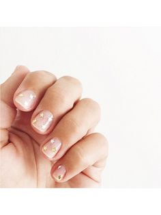 Gold stars + crystal nail polish