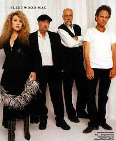 Fleetwood Mac in 2003. This time, without Christine McVie, who had left in 1993. The band consisted of Lindsey Buckingham, Stevie Nicks, John McVie, and Mick Fleetwood.