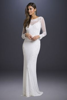 Do you dream of wearing a long sleeve wedding dress on your big day? Shop David's Bridal wide variety of wedding gowns with sleeves in lace & other designs! Wedding Dress Sleeves, Long Wedding Dresses, Wedding Gowns, Modest Wedding, Prom Dresses, Form Fitting Wedding Dress, Amazing Wedding Dress, Tea Length Dresses, Davids Bridal