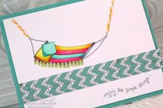 New Lockhart hammock card colored with Copic markers and hand stitched.