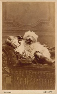 vintage everyday: Old Photographs of Dogs and Their Owners in London/ Antique Photos, Vintage Pictures, Old Pictures, Vintage Dog, Vintage Children, Poodles, Cotton De Tulear, Yorkshire Terrier Puppies, Dogs And Kids