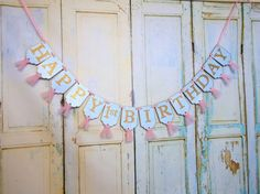 Happy 1st Birthday Banner, Embossed Blue Pink and Gold Banner with Tulle, Girls First Birthday Banner, Birthday Decorations