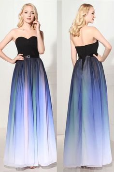 sAnkle-length Long Prom Dresses, 2017 Charming Gradient Chiffon Sweetheart Long Back Up Lace Prom Dresse #longpromdresses #promdressesblue #sexypromdress