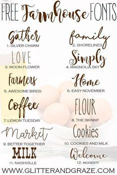 Free Farmhouse Fonts - Glitter and Graze Fancy Fonts, Cool Fonts, Simple Fonts, Polices Cricut, Silhouette Cameo 4, Free Silhouette, Farmhouse Font, Farmhouse Signs, Cricut Craft Room