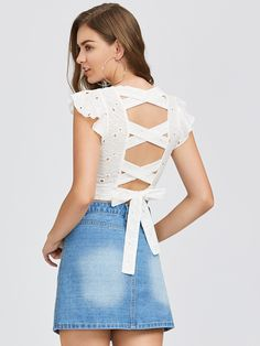 Shop Crisscross Tie Back Eyelet Embroidered Top online. SheIn offers Crisscross Tie Back Eyelet Embroidered Top & more to fit your fashionable needs. Designer Kurtis, Designer Dresses, Trendy Summer Outfits, Stylish Outfits, Spring Outfits, Dress Sewing Patterns, Blouse Patterns, Mode Top, Kurti Designs Party Wear