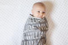 PERSONALIZED Baby Blanket chapeau noeud organique par PETUNIAS