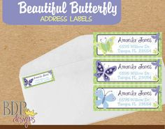butterflies and polka dots address label butterfly