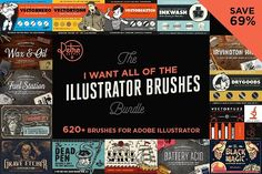 I Want All the Illustrator Brushes by RetroSupply Co. on @creativemarket
