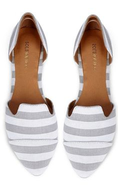 Grey Striped Flats //