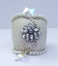 Upcycled BASEBALL CUFF Bracelet  Made from by GreenGypsyBoutique, $34.95