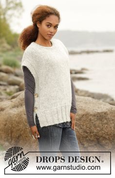 """Winter is coming / DROPS - free knitting patterns by DROPS design Knitted DROPS tank top in """"Cloud"""" with side slits and round neckline. Sizes S - XXXL. Free patterns by DROPS Design. Free Knitting Patterns For Women, Crochet Mittens Free Pattern, Knit Vest Pattern, Poncho Knitting Patterns, Knitted Poncho, Knit Crochet, Crochet Hooks, Neck Pattern, Drops Design"""