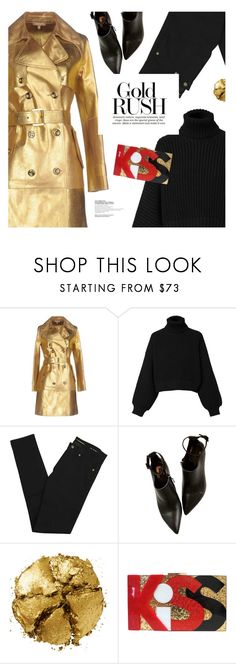 """""""Gold rush"""" by magdafunk ❤ liked on Polyvore featuring Michael Kors, Diesel, Yves Saint Laurent, Pat McGrath and blackandgold"""