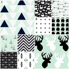 Totally love these patterns too for the bedding.      Mod Mint (Custom Crib Set) Baby Bedding, Crib Bedding, Mint, Black and White, Outdoor, Deer, Triangle, Aztec, Tribal, Teepee, Fox Nursery