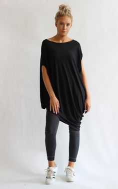 a88d25a1615 Gina Black Asymmetric Tunic Top - SilkFred Get The Look, Boutiques, Girl  Stuff,