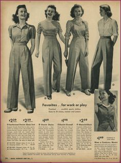 1940s ladies trouser styles. Oh yes, my gals in the novel would wear these at http://www.girlinthejitterbugdress.com