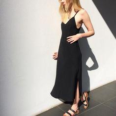 November 2015: Bassike slip dress. K Jacques St Tropez sandals.