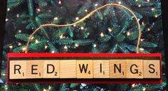 Detroit Red Wings Scrabble Tiles Ornament Handmade Holiday Christmas Wood