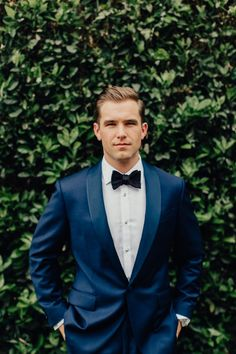 a navy tuxedo with a black bow tie and a white shirt is a chic and bold modern i. - a navy tuxedo with a black bow tie and a white shirt is a chic and bold modern idea - Men's Tuxedo Wedding, Wedding Groom, Wedding Suits, Wedding For Men, Men Wedding Attire, Mens Wedding Tux, Wedding Favors, Wedding Souvenir, Wedding Dresses