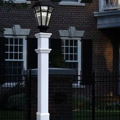 New England Arbors Sturbridge Durable Rectangle Lamp Lantern Post in White Outdoor Lamp Posts, Outdoor Post Lights, String Lights Outdoor, Outdoor Decor, Outdoor Ideas, Contemporary Post Lights, 6 House Number, New England Arbors, Lantern Post