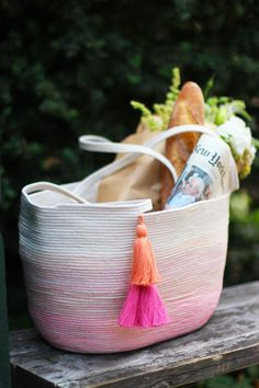 DIY Rope Bag : 200-300 feet of 7/32″ or 1/4″ cotton clothesline rope.