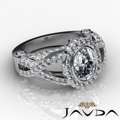 Twist Shank Oval Diamond Designer Pave Engagement Ring GIA G SI1 Platinum 2 42ct | eBay