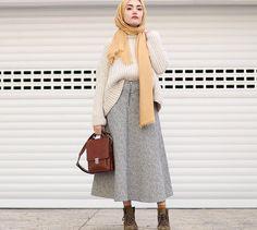 Earthy tones - bulky top and skirt with sleek scarf and bag Street Hijab Fashion, Muslim Fashion, Modest Fashion, Modest Outfits, Trendy Fashion, Girl Fashion, Fashion Outfits, Womens Fashion, Fashion Design