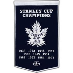 Celebrate your favorite team's history with this NHL Dynasty Banner. In team colors, this beautifully crafted, officially licensed wool banner features a team logo and championship years that will add team spirit to any space. National Championship, The Championship, Nhl Boston Bruins, Stanley Cup Champions, Wall Banner, Wall Fans, Metal Stars, Toronto Maple Leafs, A Team