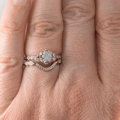 1.10 Carat Uncut Diamond Engagement Ring, Clover Setting 14k Rose Gold