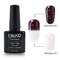 Elite99 Newest 10ml Snowy Thermal Chameleon Temperature Change Color Gel Polish DIY Nail Art Mood Color Changing UV Gel Polish