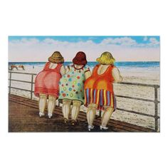 Vintage Illustrations - Shop Vintage Fat Bottomed Girls at Beach Postcard created by VintagerieEphemera. Personalize it with photos Beach Posters, Fat Women, Drawing People, Belle Photo, Oeuvre D'art, Funny Quotes, Funny Humor, Funny Stuff, Cartoon