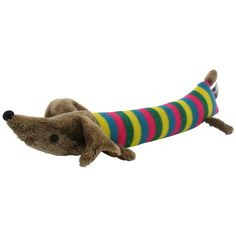 {Frankie the dog} knitted wool + felt sausage dog - super striped! :)