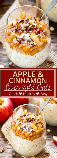 Apple Cinnamon Overnight Oats will make you want to roll outta' bed!  This healthy breakfast recipe is made with fresh apples, gluten-free oats, and almond milk, is refined sugar-free and vegan, and tastes like you're eating apple pie for breakfast. They make a great on-the-go breakfast recipe for those busy school day mornings.