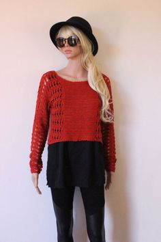 ORANGE jumper knitted KNIT rust colour 70's vintage style retro BOHO trendy NEW