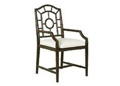 Chinoiserie Lacquer Arm Chair with Linen Seat Available As Side Chair Also Available in White, Black, Lime Green or Walnut Finishes