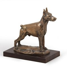 Great Dane Uncropped,dog bust//statue on wooden base CA ArtDog Limited Edition