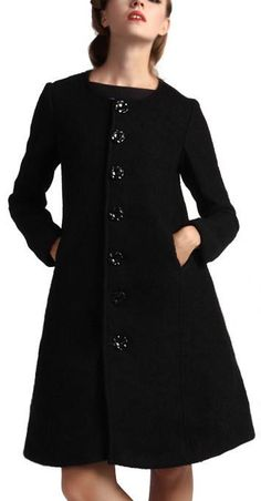 Black Single Breasted Wool Coat