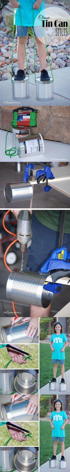 Zancos con latas de recicladas - Vía http://onecreativemommy.com/