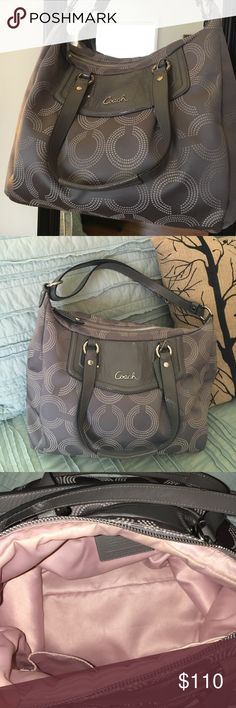 """Coach Ashley Dotted Op Art Convertible Hobo Coach Ashley Dotted Op Art convertible crossbody hobo bag. Genuine Coach handbag made of fabric with leather trim. Inside zip, cell phone and multifunction pockets. Zip-top closure, light pink fabric lining. Handle with 10"""" drop. Longer strap for shoulder or cross body wear. Dimensions: 12"""" (L) x 10 1/4"""" (H) x 5 1/2"""" (W). Some wear, but otherwise in great condition! Coach Bags Hobos"""