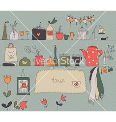 Kitchen shelf vintage background vector by tasia12 on VectorStock®