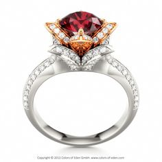 Ruby Engagement Ring LOTUS FLOWER ROYAL at www.colorsofeden.com