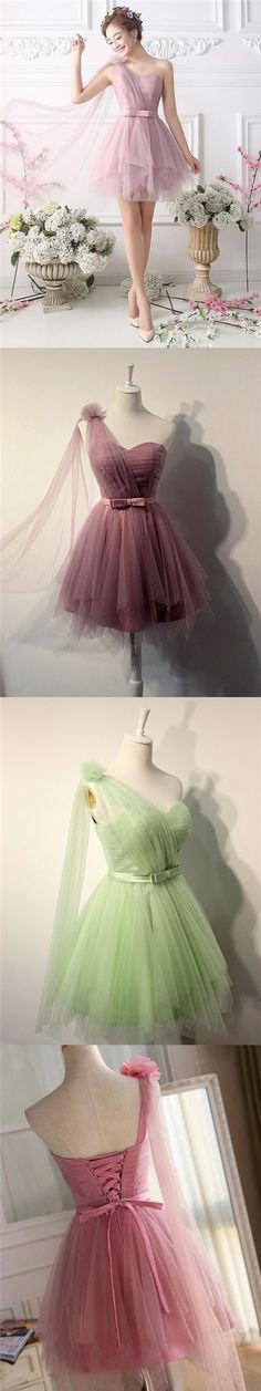 2017 Homecoming Dress One Shoulder Hand-Made Flower Short Prom Dress Party Dress JK203