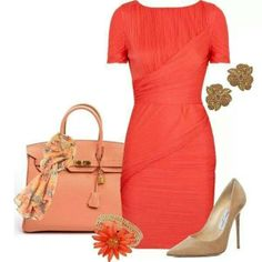 (Color ~ Orange (Outfit Only) Orange Outfits, Couture Mode, Couture Fashion, Cute Office Outfits, Dress Outfits, Fashion Dresses, Cool Style, My Style, Work Attire