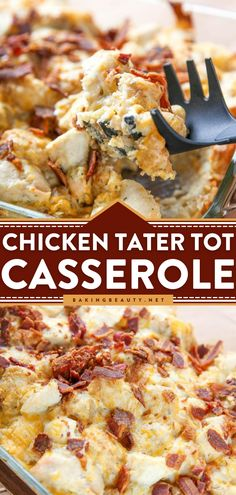 Looking for the best chicken recipe for dinner? Chicken Tater Tot Casserole starts with crunchy bacon and ranch chicken that is so quick and easy! This comforting casserole idea is one delicious dinner recipe! Delicious Dinner Recipes, Yummy Food, Yummy Recipes, Tasty, Tater Tot Casserole, Easy Casserole Recipes, Ranch Chicken, Best Chicken Recipes, Quick Easy Meals