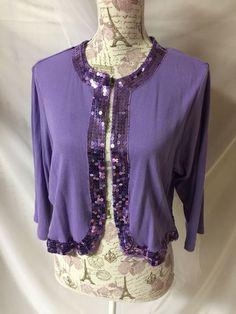 Denim 24/7 Purple Sequin Women's 3/4 Sleeve Cardigan Crop Sweater Plus Size 1X #Denim247 #Pullover #everydayworkcasualfestive