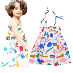 KAMIMI girls dress sumemr bobo choses geometric designs harness dress kids fashion cartoon graffiti dresses bebes party dress