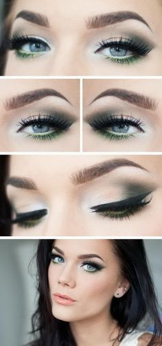 """Today's Look : """"Green Glitter"""" -Linda Hallberg ( a gorgeous eye done in a perfectly subtle smokey eye with a beautiful mossy green ) - March 09 2019 at Love Makeup, Makeup Inspo, Makeup Inspiration, Makeup Looks, Hair Makeup, Cheap Makeup, Makeup Ideas, White Makeup, Makeup Sale"""