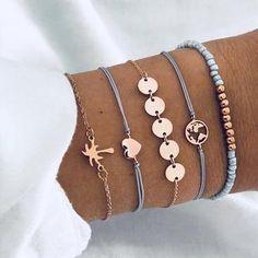 Buy 5 PCS/Set Fashion Heart Map Charm Bracelets Set For Women Boho Vintage Stone Leather Chain Bracelet Party Jewelry Wholesale Bracelet Fil, Arrow Bracelet, Tassel Bracelet, Beaded Bracelets, Flower Bracelet, Kandi Bracelets, Silver Bracelets, String Bracelets, Silver Ring