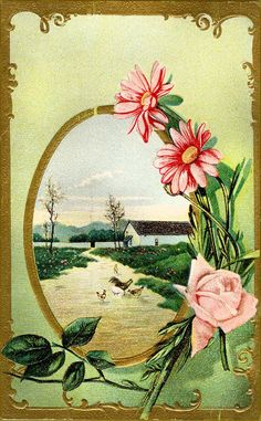 #Easter #antique #postcard #flowers