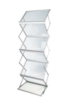 Portable literature stand with landscape aluminium and perspex shelves. High quality and great value folding brochure rack from Display Wizard. Tv Furniture, Types Of Furniture, Quality Furniture, Furniture Making, Wine Glass Shelf, Glass Shelves In Bathroom, Bathroom Storage, Brochure Stand, Portable Display